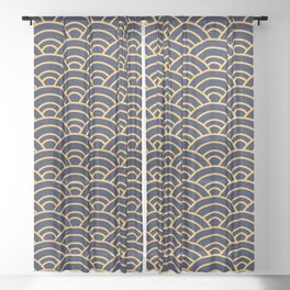 Japanese Wave Pattern  Sheer Curtain