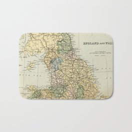 North England and Wales Vintage Map Bath Mat