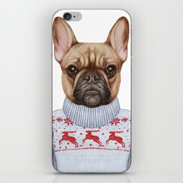 Animals as a human. French Bulldog in down vest and sweater. iPhone Skin