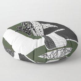 Begonia Plant Monochrome Art  Floor Pillow