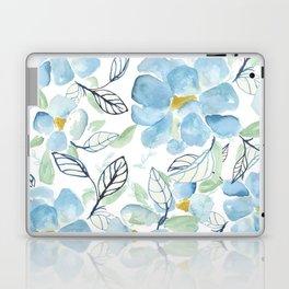 Blue flower garden watercolor Laptop & iPad Skin