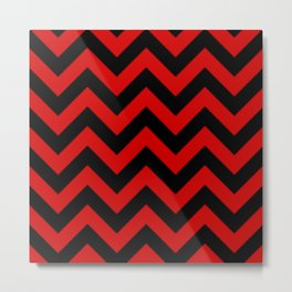 Black and Red Chevron Stripes Metal Print