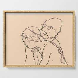 Egon Schiele - Two women embracing Serving Tray