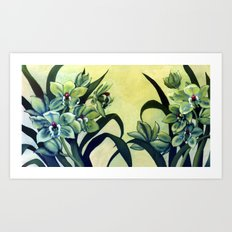 Green Orchids Triptych Art Print