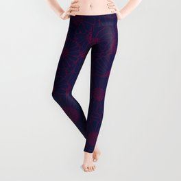 Floral Bunch Blue Red Leggings