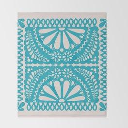 Fiesta de Flores Turquoise Throw Blanket