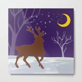 Deer on the ice Metal Print