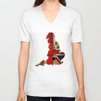 england V-neck T-shirts featuring ENGLAND by mark ashkenazi