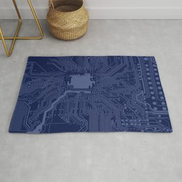 Blue Geek Motherboard Circuit Pattern Rug