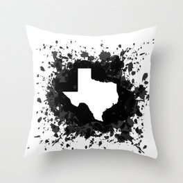 White State of Texas with Black Paint Splatter Throw Pillow