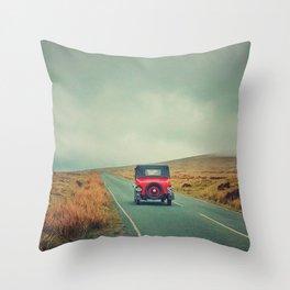 Vintage red car, Ireland Throw Pillow