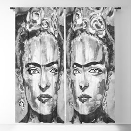 Frida KAHLO Flowers Black and White Blackout Curtain