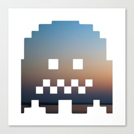 Pacman robot with clouds Canvas Print