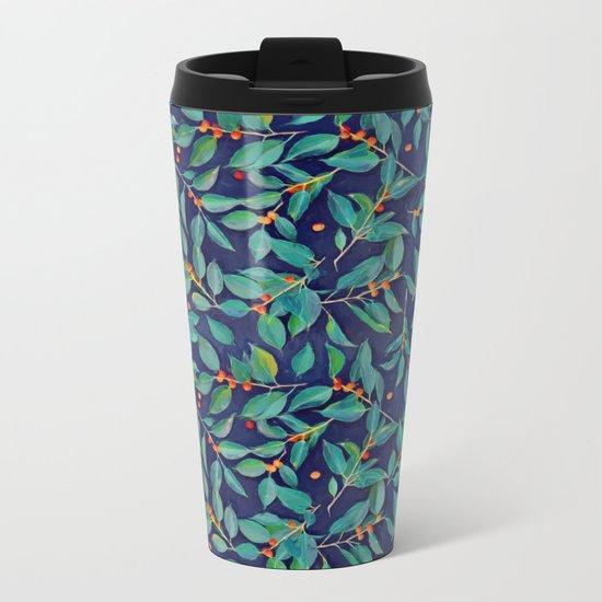 Leaves + Berries in Navy Blue, Teal & Tangerine Metal Travel Mug