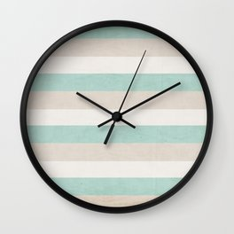 aqua and sand stripes Wall Clock