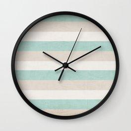 aqua and sand stripes Wall Clock