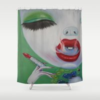 lipstick Shower Curtains featuring Lipstick by Sahara Novotny