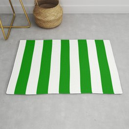 Islamic green - solid color - white vertical lines pattern Rug