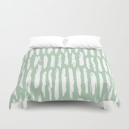 Vertical Dash Stripes White on Pastel Cactus Green Duvet Cover