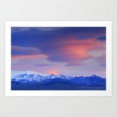 Lenticular clouds over Sierra Nevada National Park Art Print
