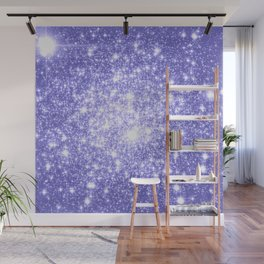 Lavender Periwinkle Sparkle Stars Wall Mural