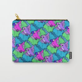 Tessellated Parrots Pink Carry-All Pouch
