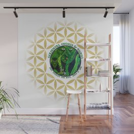 Gnome Fairy Golden Flower of Life Wall Mural