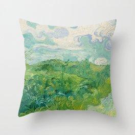 Green Wheat Fields, Auvers, 1890, Vincent van Gogh Throw Pillow