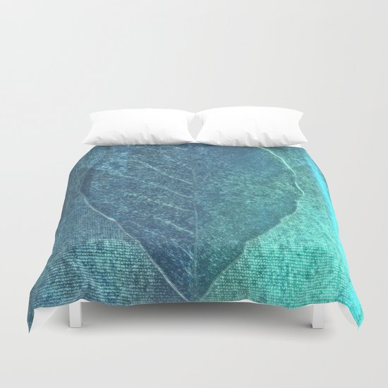 Light blue teal tonnes with an abstract leaf  Duvet Cover