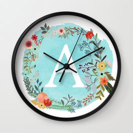 Personalized Monogram Initial Letter A Blue Watercolor Flower Wreath Artwork Wall Clock