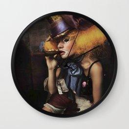 sad Girl clown with old dress smoke a cigar Wall Clock