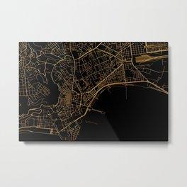 Black and gold Neapol map Metal Print