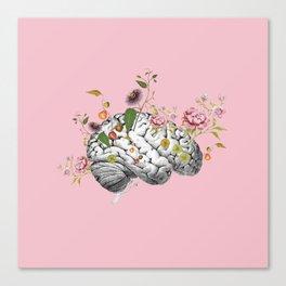 Brain Flowers Collage Canvas Print