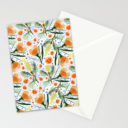 Australian Native Floral Pattern - Grevillea and Pincushion Flowers Stationery Cards