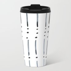 black and white dots and dashes boho modern Metal Travel Mug