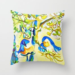 Yellow Bluebirds Sittin in a Tree, K I S S I N G by CheyAnne Sexton Throw Pillow