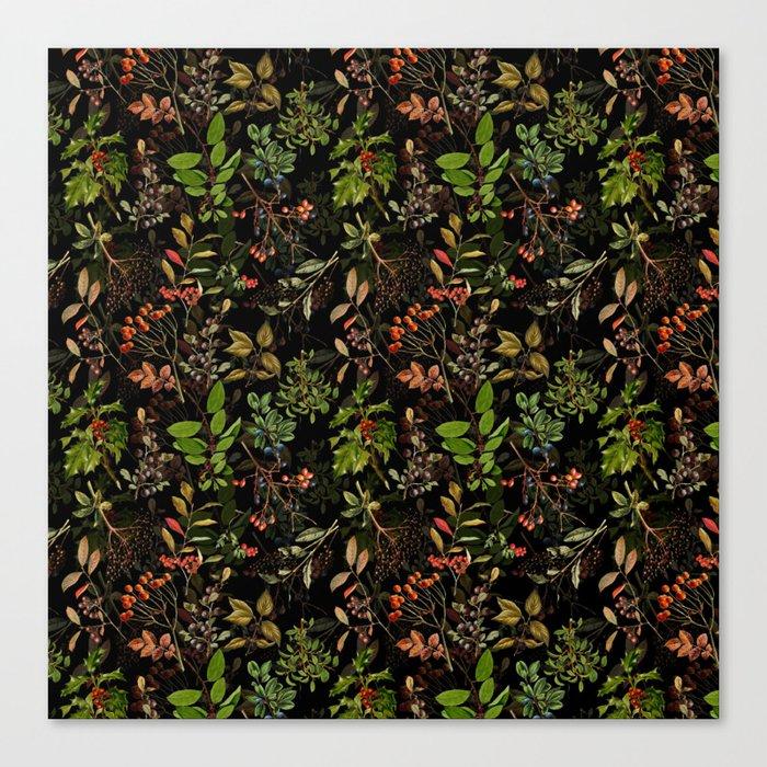 Vintage & Shabby Chic - vintage botanical wildflowers and berries on black Leinwanddruck