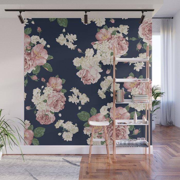 Pink Roses on dark blue pattern Wall Mural