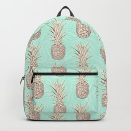 Golden and mint pineapples pattern Backpack