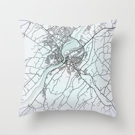 Derry~Londonderry, Northern Ireland, White, City, Map Throw Pillow
