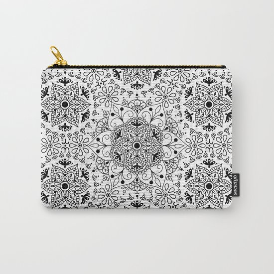 Mandala_White and Black Carry-All Pouch