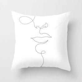 ld_e20 - one line dot face Throw Pillow
