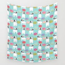 French Bulldog cute mint pastel cute donuts sweet treat doughnuts junk food dessert foods and dogs Wall Tapestry