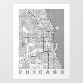 Chicago Map Line Art Print