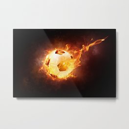 Fire Football Metal Print