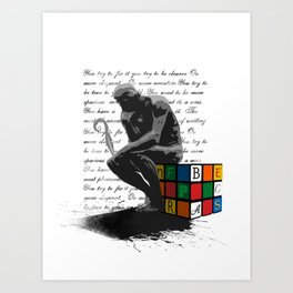 WRITER'S BLOCK the thinker Rubrix cube illustration Art Print