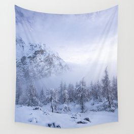Winter wonderland, fog, spruce forest and mountains Wall Tapestry