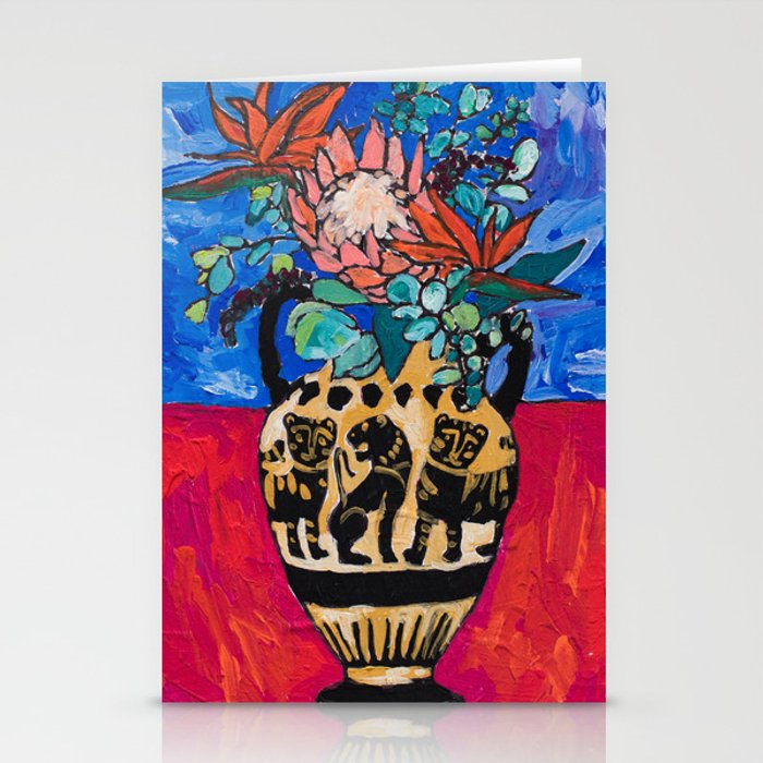 Lions and Tigers Vase with Protea Bouquet Stationery Cards