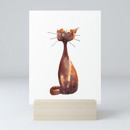 Brown cat1 Mini Art Print