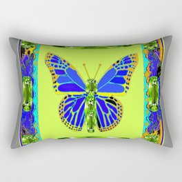 BLUE & GREEN  BUTTERFLY PERIDOT GEMMED GEOMETRIC Rectangular Pillow